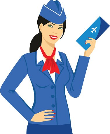 Stewardess clipart picture freeuse download Illustration of Stewardess Dressed IN Blue Uniform With A ... picture freeuse download