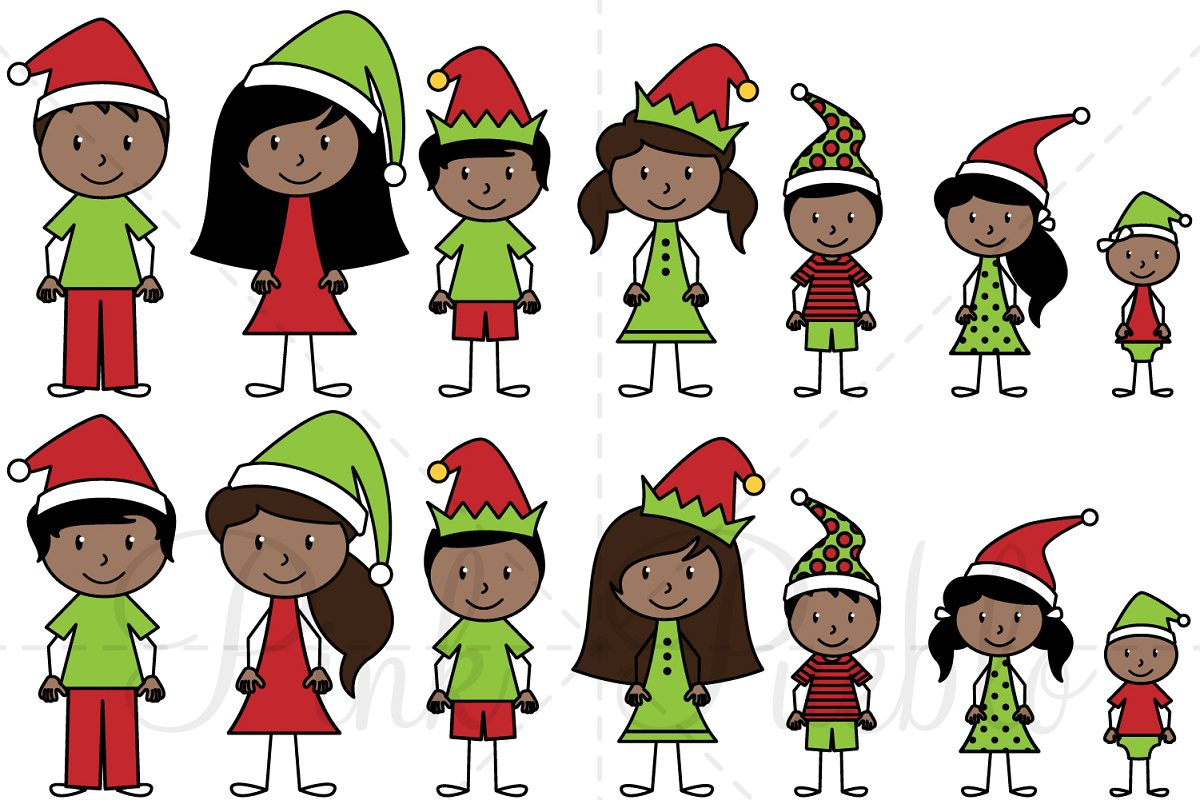 Stick african american family of 5 clipart image black and white Christmas Stick Figure Family image black and white