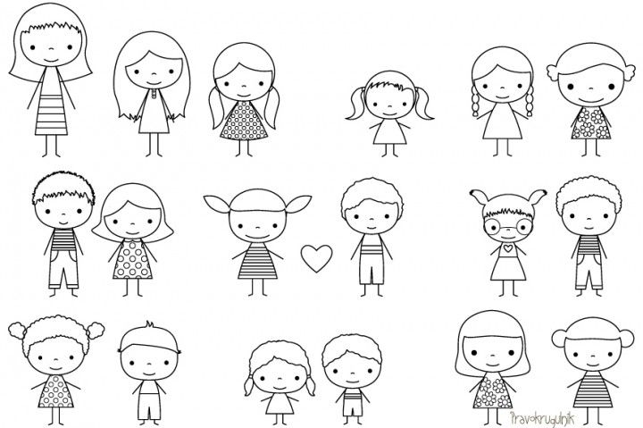 Stick characters clipart image black and white Children stick figure digital stamp, Cute boy and girl stick ... image black and white