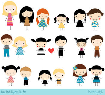 Stick characters clipart picture free download Colored stick figures clipart, Boys and girls clip art, Cute kids clipart  set picture free download