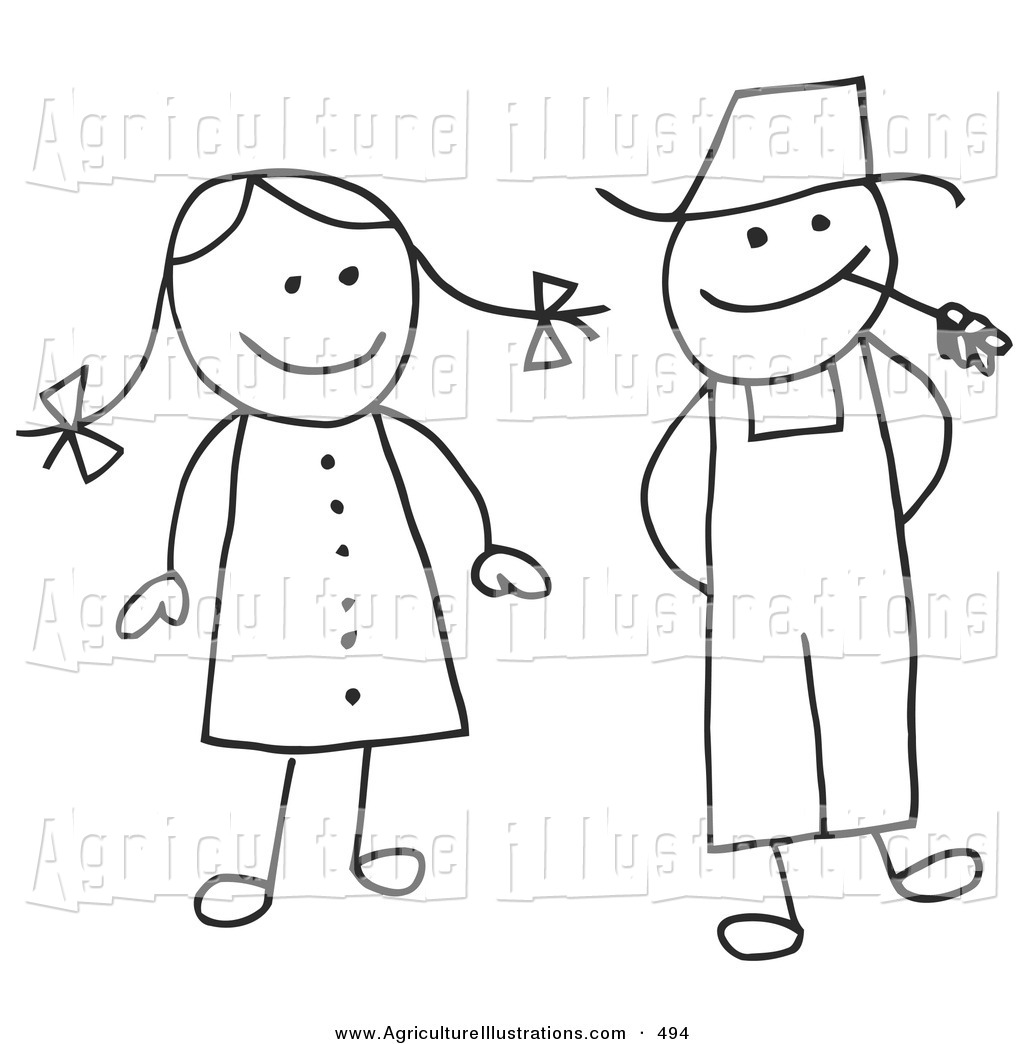 Stick farmer clipart clip art library Agriculture Clipart of a Stick Figure Woman and Farmer Man ... clip art library