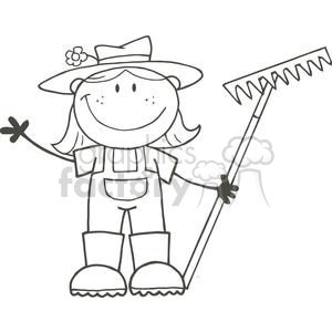 Stick farmer clipart clipart 2506-Royalty-Free-Stick-Figure-Gardening-Girl-Waving-A-Greeting clipart.  Royalty-free clipart # 379764 clipart