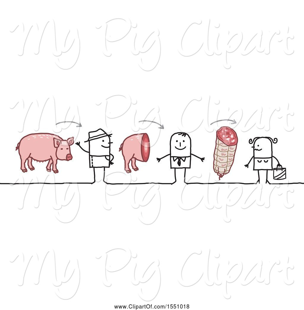 Stick farmer clipart graphic transparent library Swine Clipart of Stick Guy Farmer Selling Pork to a Grocer ... graphic transparent library