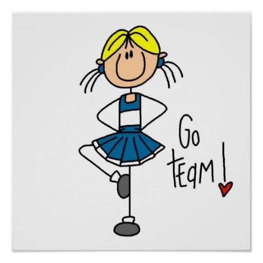 Stick figure cheerleader clipart png library Blue Stick Figure Cheerleader T-shirts and Gifts Poster ... png library