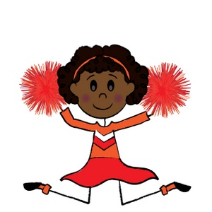 Stick figure cheerleader clipart clip black and white stock Cute black stick figure cheerleader with pom poms doing a ... clip black and white stock