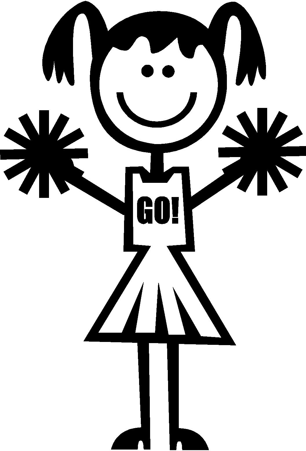 Stick figure cheerleader clipart black and white download Free Black Cheerleader Cliparts, Download Free Clip Art ... black and white download