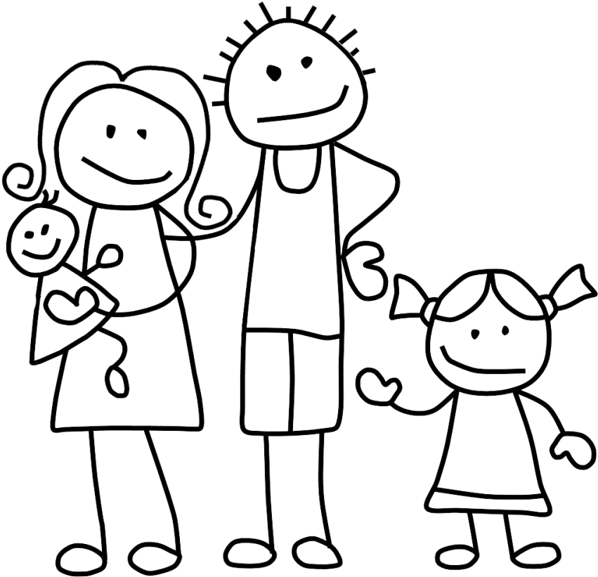 Stick figure family clipart clip Download Free png Download Family Clip Art Black And White ... clip