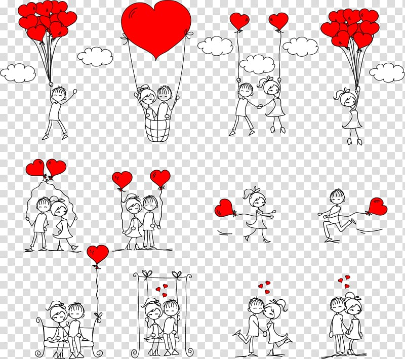 Stick figure love clipart graphic royalty free stock Couple holding heart balloons illustration, Drawing Romance ... graphic royalty free stock