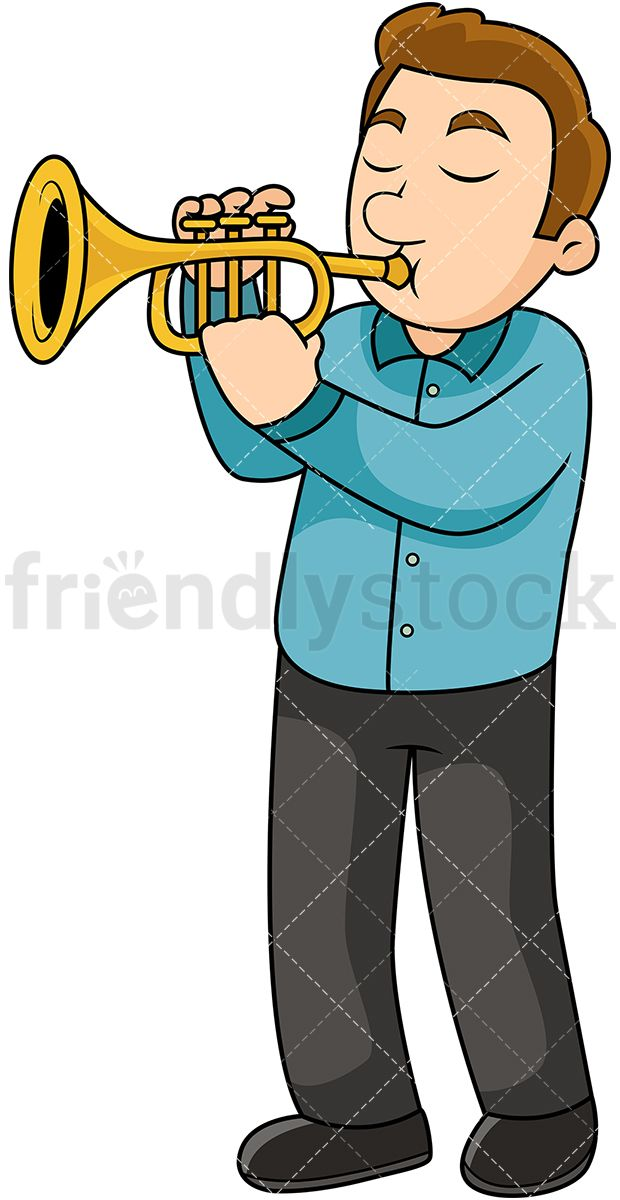 Stick man with trumpet clipart black and white jpg free Young Man Playing The Trumpet   Vector Illustrations ... jpg free
