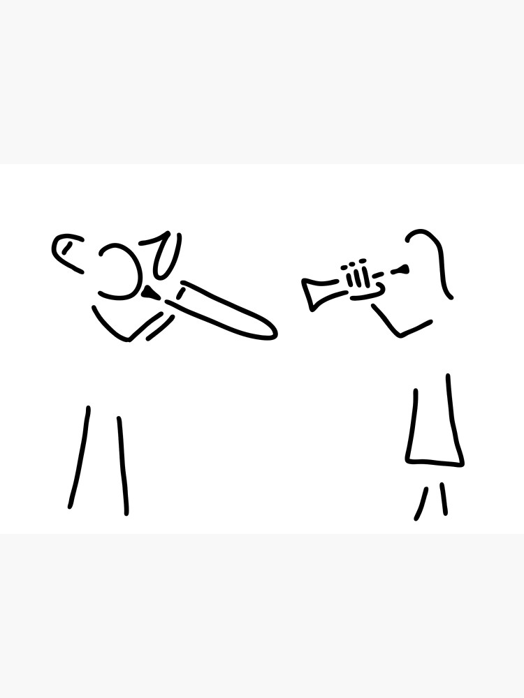 Stick man with trumpet clipart black and white banner posaunist trumpet player brass player   Poster banner