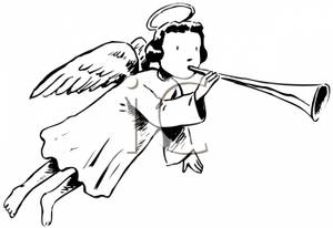 Stick man with trumpet clipart black and white royalty free stock A Black and White Cartoon of an Angel Blowing a Trumpet ... royalty free stock