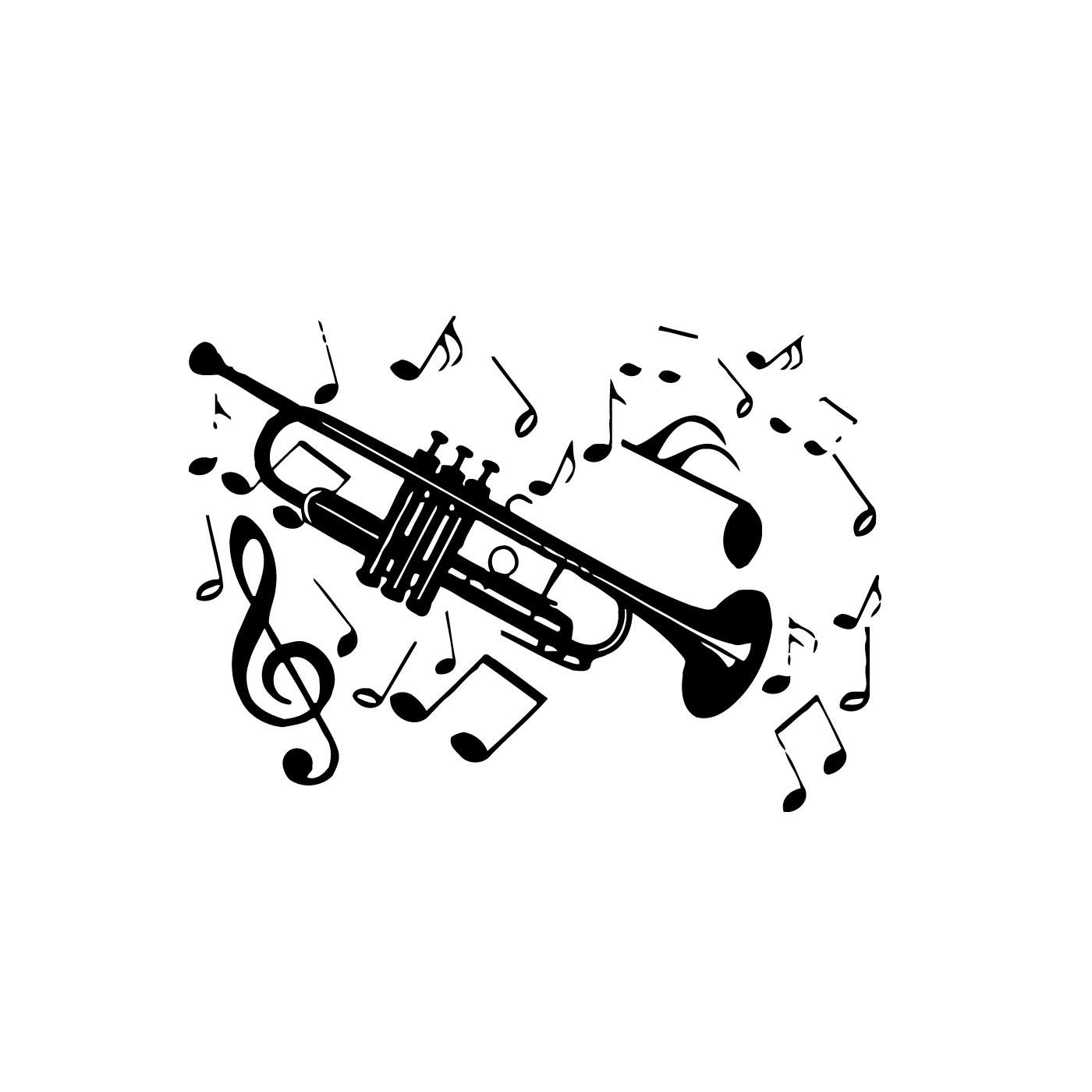 Stick man with trumpet clipart black and white jpg stock Trumpet with Music Notes Wall Vinyl Art   trumpets ... jpg stock