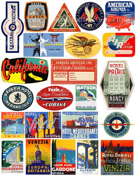 Oldtime european travel stickers on suitcases clipart clip royalty free download Travel Luggage Labels Clipart - Retro Digital Printable ... clip royalty free download