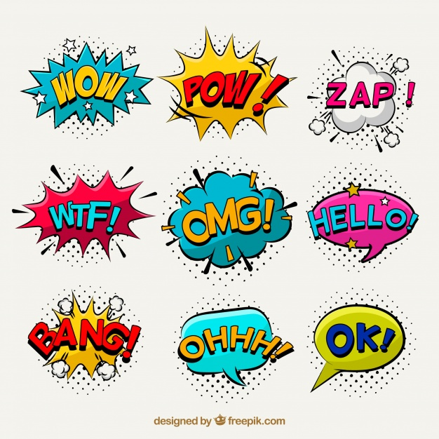 Sticker line clipart pack download png royalty free stock Pop art pack of comic stickers Vector | Free Download png royalty free stock
