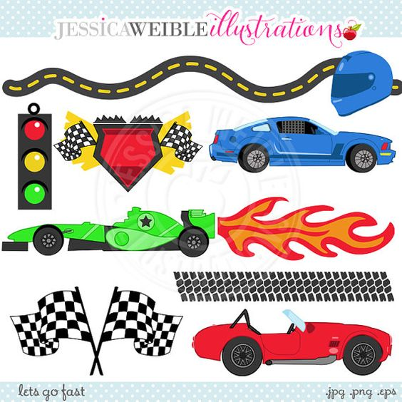 Stock car race car clipart vector royalty free download Lets Go FAST Cute Digital Clipart - Commercial Use OK - Racing ... vector royalty free download