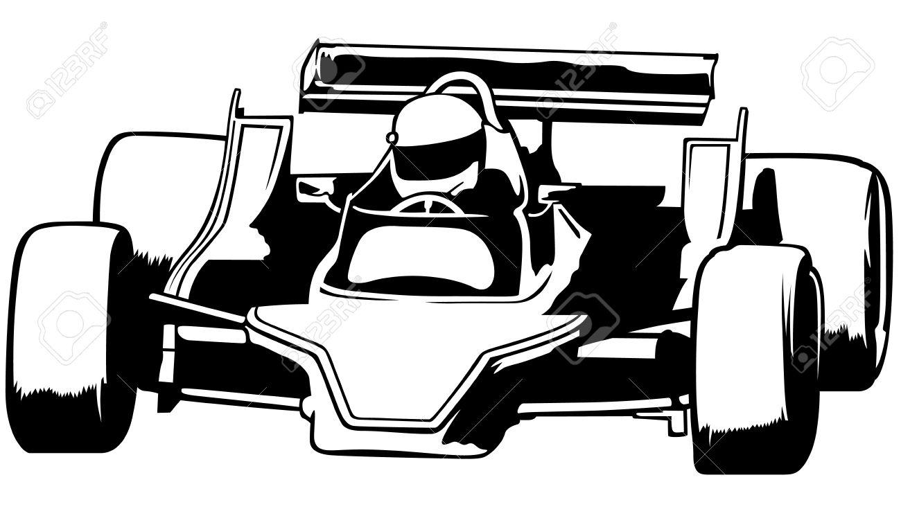 Stock car race car clipart jpg library library Racing Car - Black Outline Illustration, Vector Royalty Free ... jpg library library