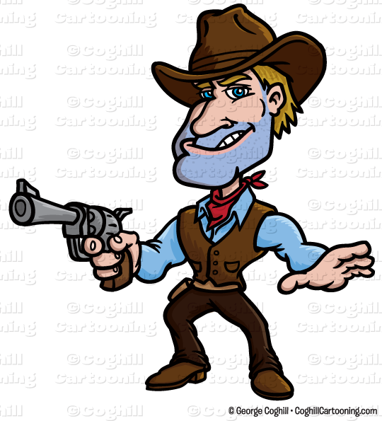 Stock clipart svg library Cartoon Gunslinger Cowboy Clip Art Stock Illustration - Coghill ... svg library