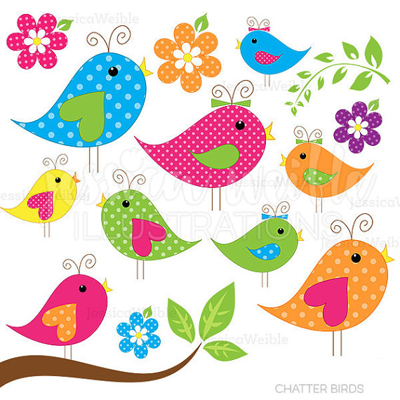 Stock clipart for commercial use banner black and white stock Chatter Birds | Cute Clipart | Bird Clip Art | Bird Graphics ... banner black and white stock
