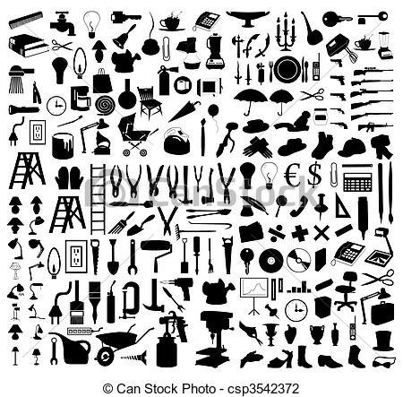 Stock clipart free vector black and white Vector Illustration of Silhouettes of various subjects and tools ... vector black and white