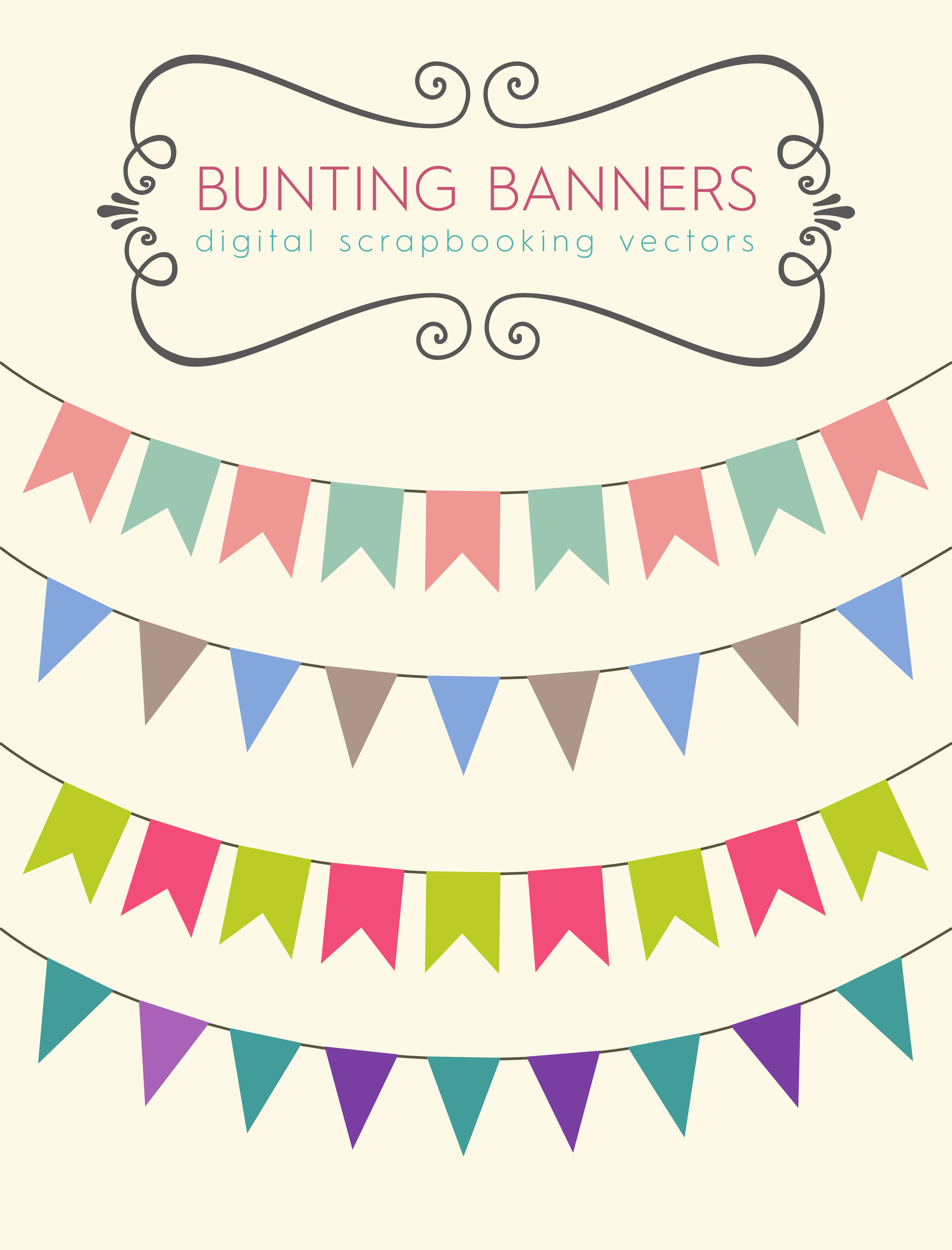 Stock clipart free download clip royalty free download Download these bunting banners to use for your party printables ... clip royalty free download