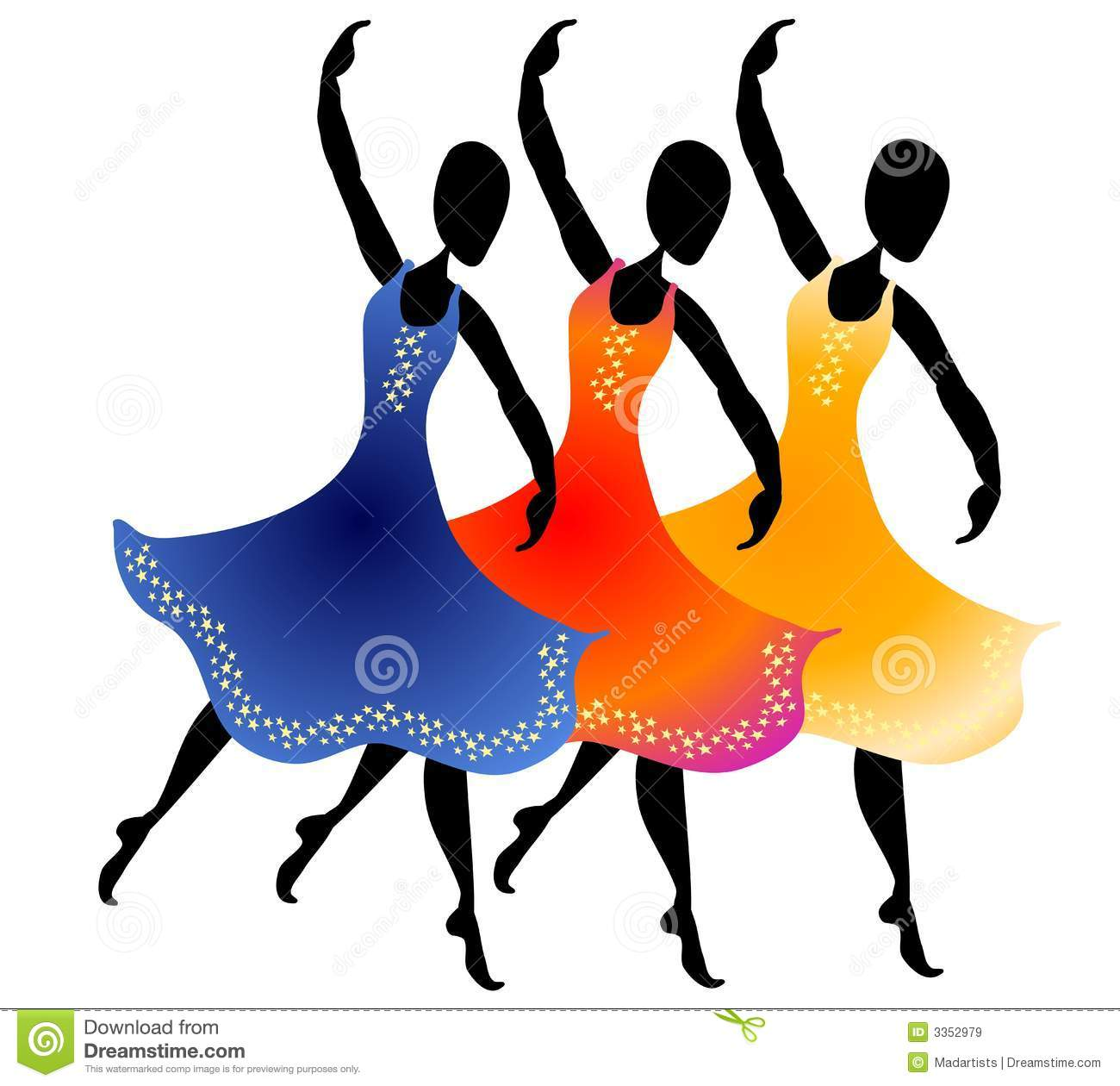Stock clipart free download graphic black and white stock 3 Women Dancing Clip Art Royalty Free Stock Images - Image: 3352979 graphic black and white stock