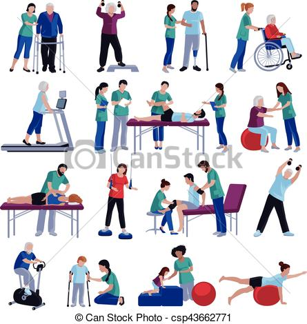 Stock clipart people freeuse download Vectors Illustration of Physiotherapy Rehabilitation People Flat ... freeuse download