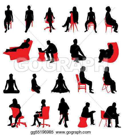 Stock clipart people vector library download Vector Stock - Sitting people silhouettes. Stock Clip Art ... vector library download