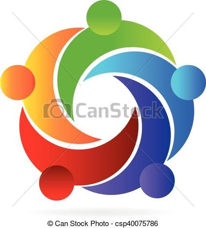 Stock clipart people vector library library Vector - Logo teamwork helping people - stock illustration ... vector library library
