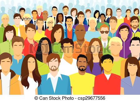 Stock clipart people svg freeuse library Clipart Vector of Group of Casual People Face Big Crowd Diverse ... svg freeuse library