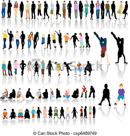 Stock clipart people png free stock EPS Vectors of Lots of People with Reflections - Lots of Colorful ... png free stock