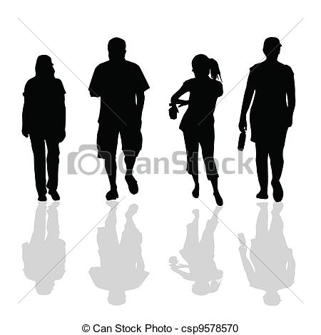 Stock clipart people free stock Vector Clipart of people walking black silhouette of art vector ... free stock