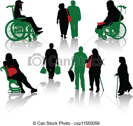 Stock clipart people clip black and white library Clipart Vector of Silhouette of old people and disabled persons ... clip black and white library