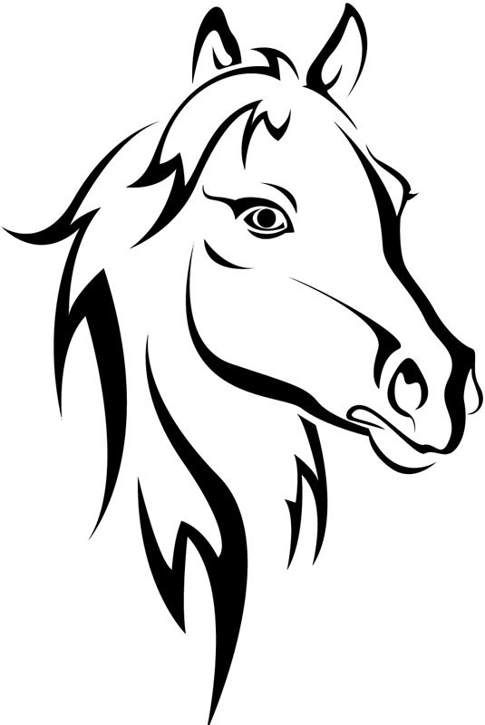 Stock horse head clipart jpg transparent download horse head clip art | Horse Head Outline Farmyard Animals Wall ... jpg transparent download