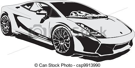 Stock photos car clipart clip art black and white Vector Clipart of Sport car ex class made in eps csp9913990 ... clip art black and white
