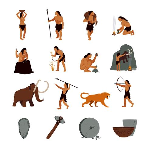 Stone age images clipart picture transparent library Prehistoric Stone Age Caveman Icons - Download Free Vectors ... picture transparent library