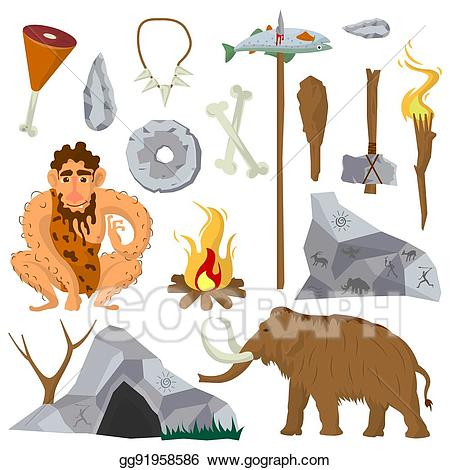 Stone age images clipart png transparent Vector Clipart - Stone age or neanderthal vector icons and ... png transparent