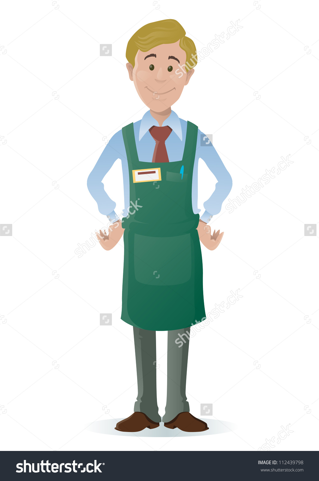 Store clerk clipart jpg free download Shopkeeper Stock Vector 112439798 - Shutterstock jpg free download