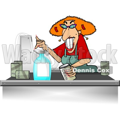 Store clerk clipart vector download Store Checkout Clerk Ringing Up Food Items In Her Cash Register ... vector download
