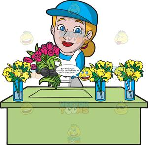 Storekeeper clipart svg free A Happy Female Florist Arranging Flowers svg free
