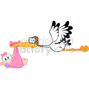 New born baby girl clipart picture free download Royalty Free Stork Delivering A Newborn Baby Girl clipart. Royalty-free  clipart # 386887 picture free download