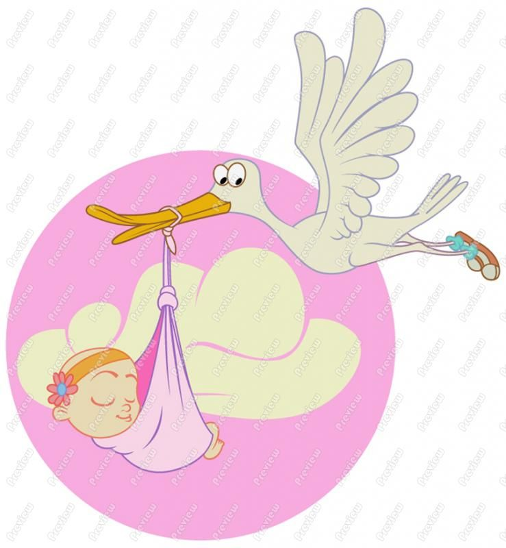 Stork with baby girl clipart black and white stock free clip art | Stork With Baby Girl Clip Art - Royalty Free ... black and white stock