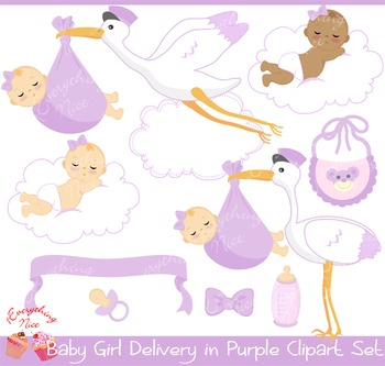 Stork with baby girl clipart jpg download Baby Girl Stork Delivery in Purple Clipart Set jpg download