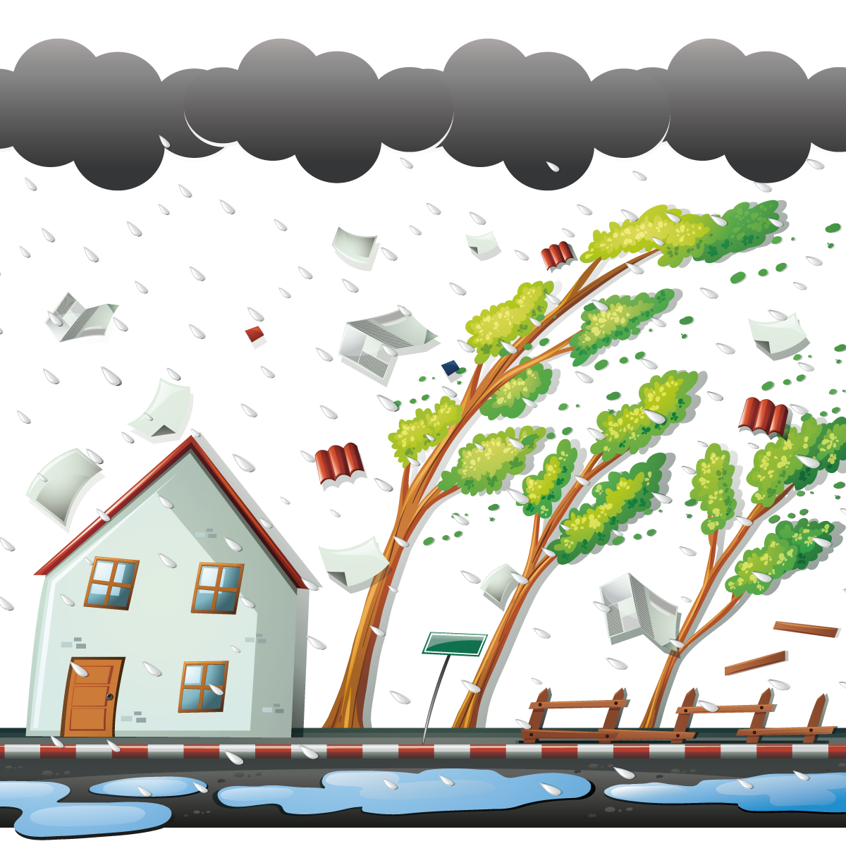 Wind tree clipart svg freeuse download Thunderstorm Wind Clip art - Vector typhoon came 1200*1200 ... svg freeuse download
