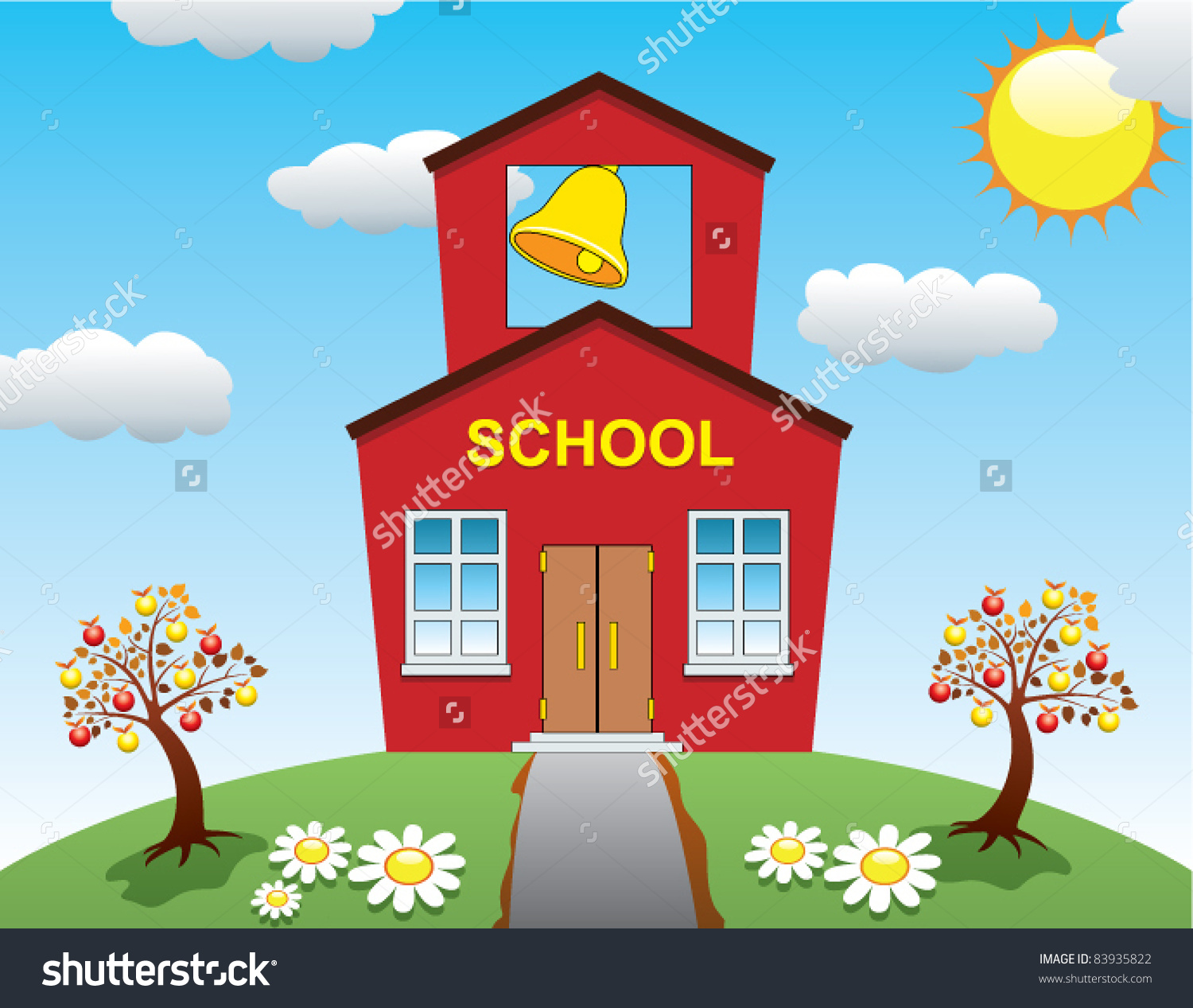 Storybook schoolhouse png free Schoolhouse with tree clipart - ClipartFest png free