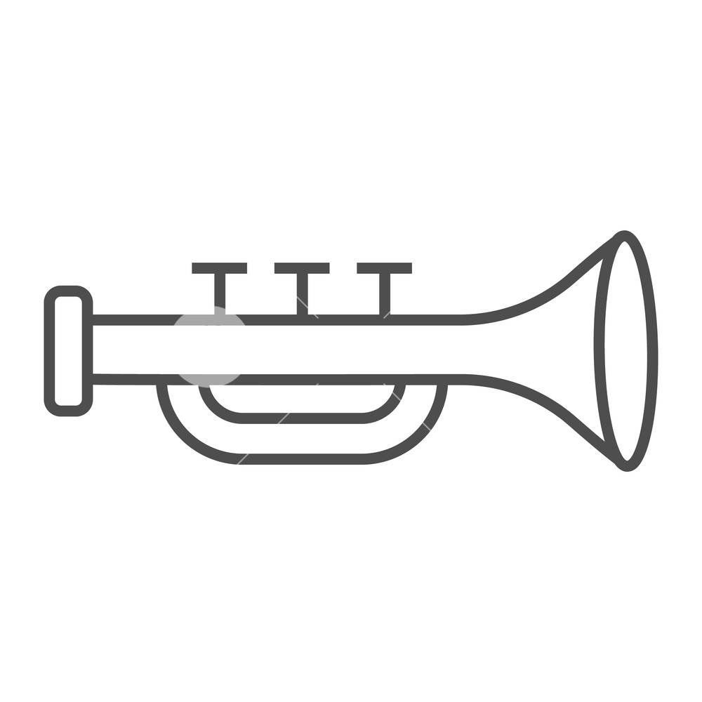 Straight bugle horn clipart clipart royalty free stock Trumpet thin line icon, musical and instrument, bugle sign ... clipart royalty free stock