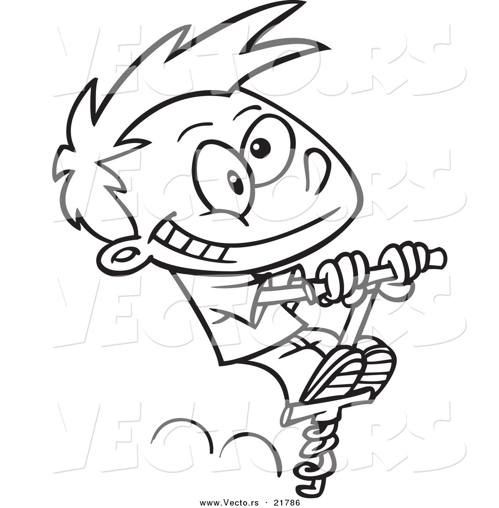 Strange pogo stick clipart black and white jpg free Vector of a Cartoon Boy Using a Pogo Stick - Outlined ... jpg free