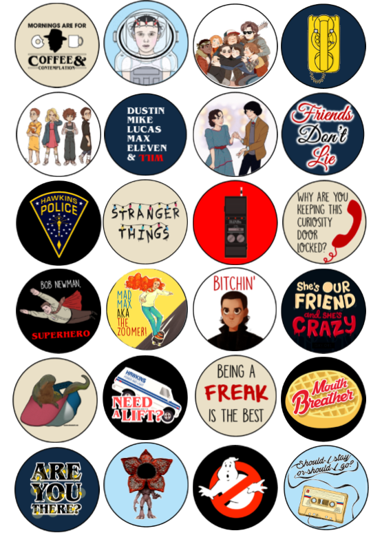 Stranger things 3 quotes clipart clip freeuse stock Stranger Things Party Cupcake Toppers | Stickers in 2019 ... clip freeuse stock