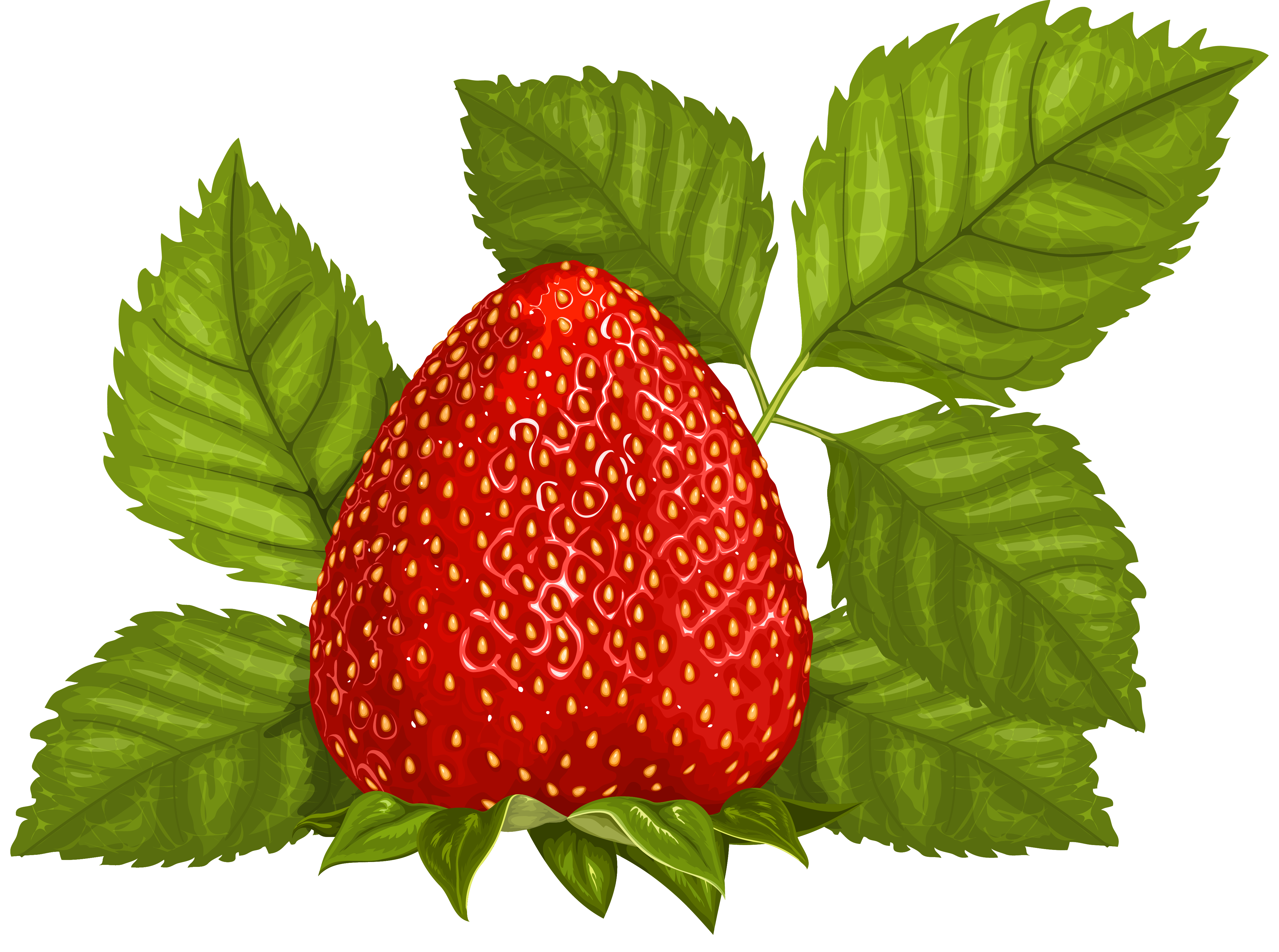 Strawberry flower clipart royalty free download Strawberry with Leaves PNG Clipart Picture | Gallery Yopriceville ... royalty free download