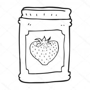 Strawberry jam clipart black and white no copyright banner black and white stock Line Art Black And White Jam Jar Vector | SOIDERGI banner black and white stock