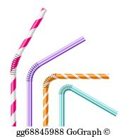 Straws clipart clip art black and white library Drinking Straw Clip Art - Royalty Free - GoGraph clip art black and white library